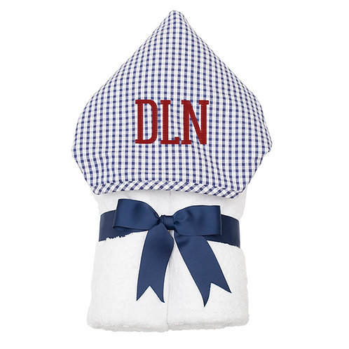 Personalized Big Kid Hooded Towel- Navy Check