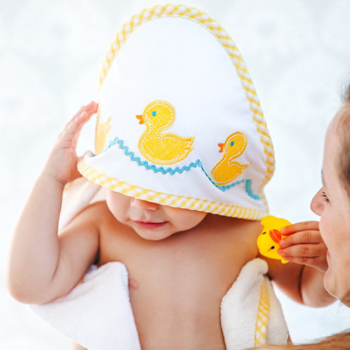 Duck Hooded Towel & Washcloth Set