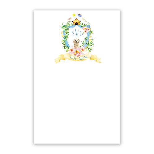 Dog Mom Themed Watercolor Crest Notepad