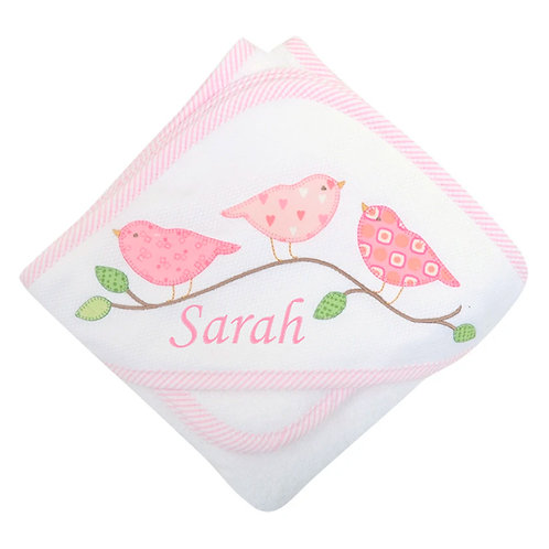 Personalized Pink Birds Hooded Towel and Washcloth