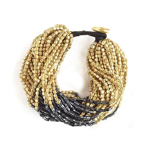 Gold with Blue Multi Strand Bracelet