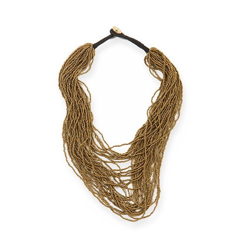 Gold Seed Bead Multi Layer Necklace