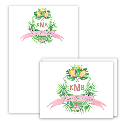 Tennis Themed Watercolor Crest Stationery Gift Set