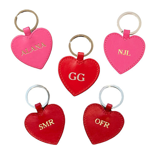Personalized Leather Heart Key Chain