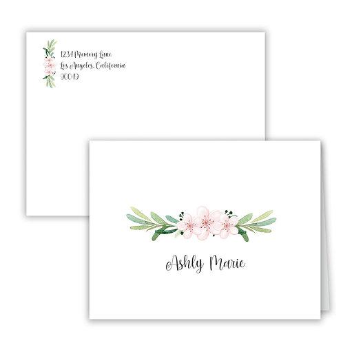 Personalized Notecards - Flower Laurel
