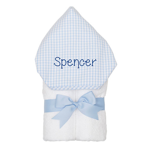 Personalized Big Kid Hooded Towel- Blue Check