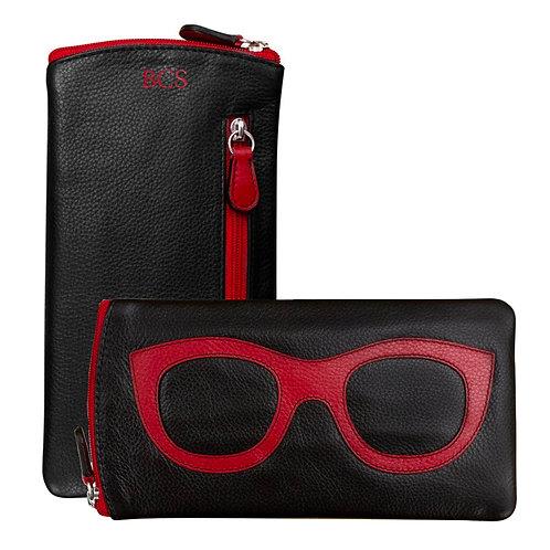 Leather Eyeglass Case-Black/Red