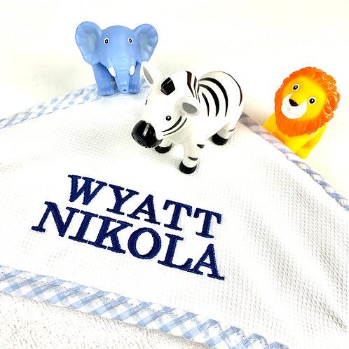 Blue Hooded Towel & Washcloth Set