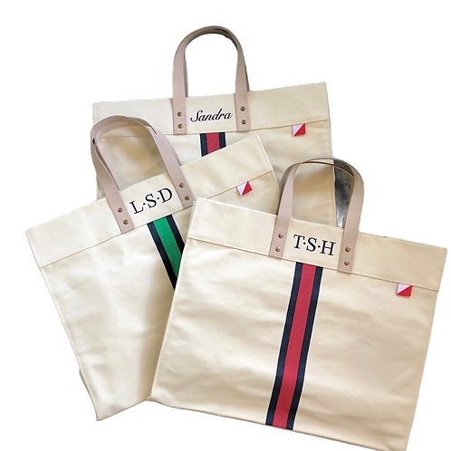 Personalized Tote Bag with Stripe