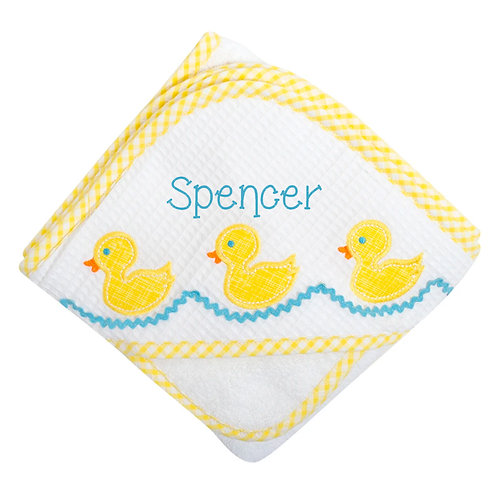 Personalized Duck Hooded Towel and Washcloth