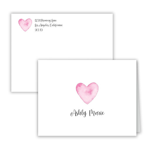 Personalized Notecards - Pink Heart