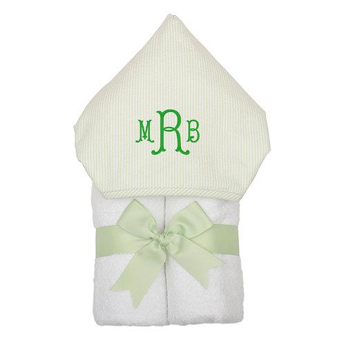 Personalized Big Kid Hooded Towel- Green Stripe