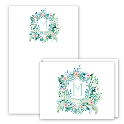 White Paradise Themed Watercolor Crest Stationery Gift Set