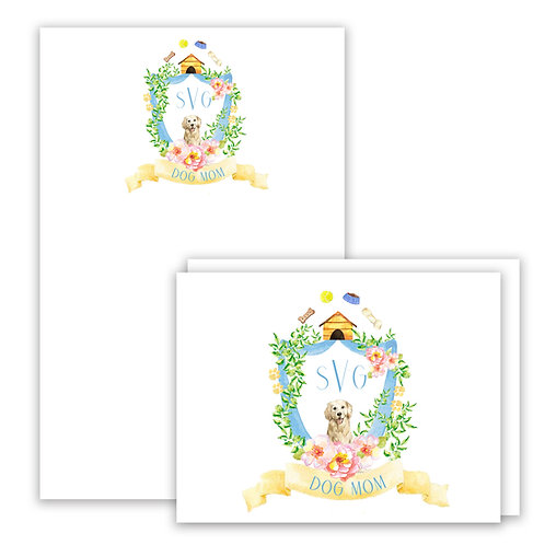 Dog Mom Themed Watercolor Crest Stationery Gift Set
