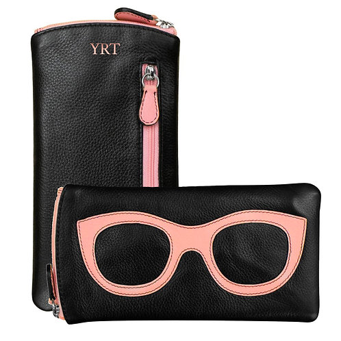 Leather Eyeglass Case-Black/Light Pink