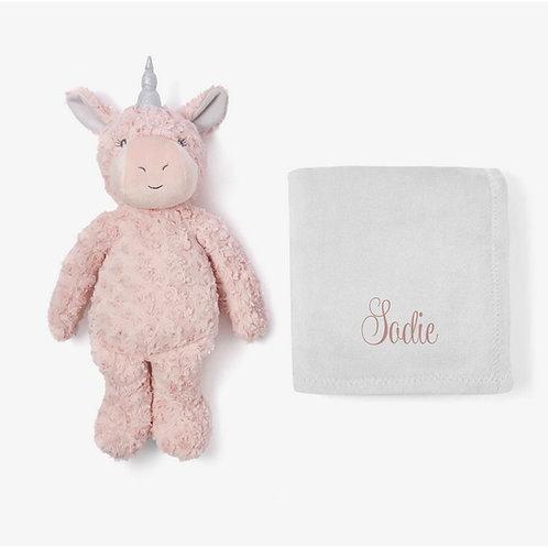 Unicorn plush toy with personalized blanket