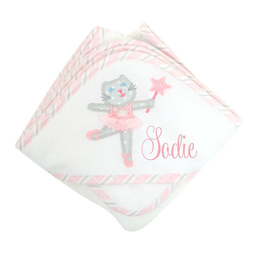 Kitty Ballerina Hooded Towel & Washcloth Set
