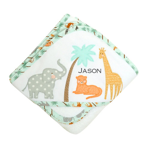 Personalized Safari Hooded Towel and Washcloth