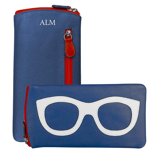 Leather Eyeglass Case-Blue/White/Red