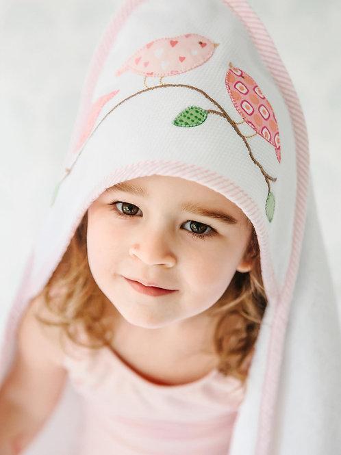 Pink Birds Hooded Towel & Washcloth Set