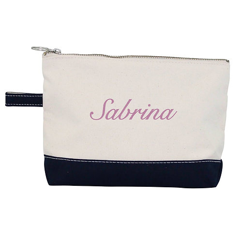 Personalized Cosmetic Bags with loop and 1 color embroidery