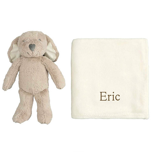 Puppy plush toy with personalized blanket