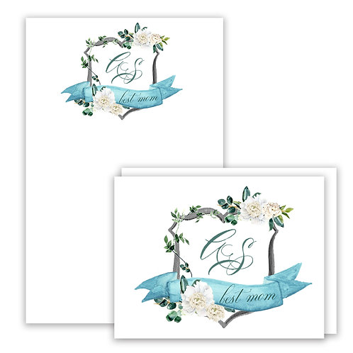 White Peony Themed Watercolor Crest Stationery Gift Set