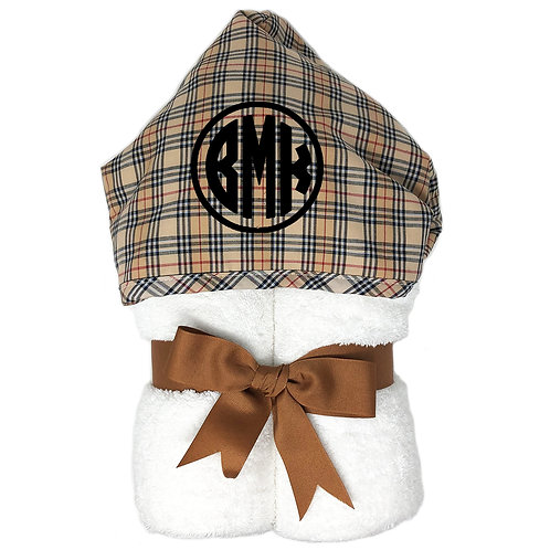3 Martha's Personalized Big Kid Hooded Towel- Brown Plaid