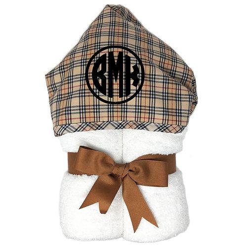 Personalized Big Kid Hooded Towel- Brown Plaid