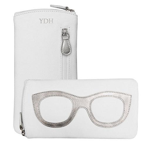 Leather Eyeglass Case- White/Silver