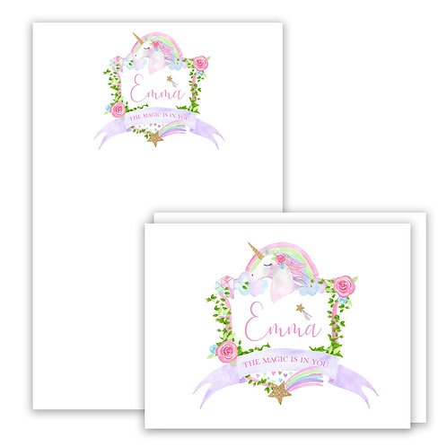 Unicorn Themed Watercolor Crest Stationery Gift Set