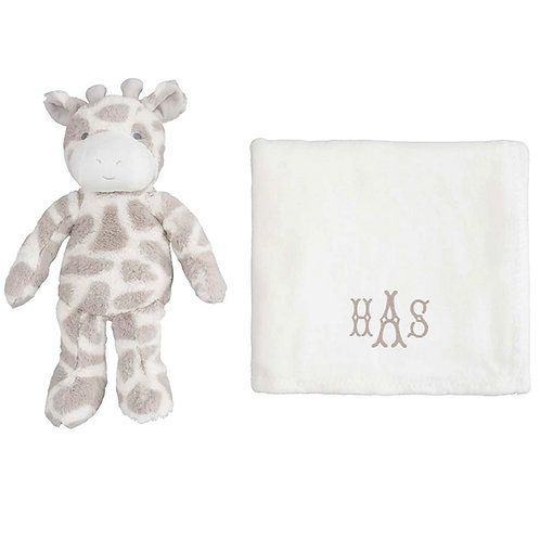 Giraffe plush toy with personalized blanket