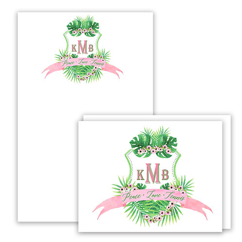 Pink Palm Themed Watercolor Crest Stationery Gift Set