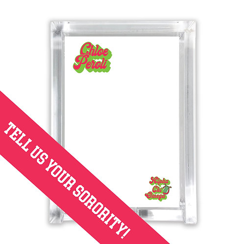 Personalized Sorority College Notepad with Holder