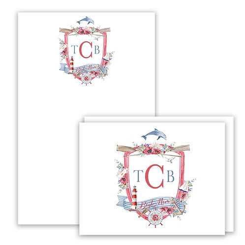 Nautical Themed Watercolor Crest Stationery Gift Set