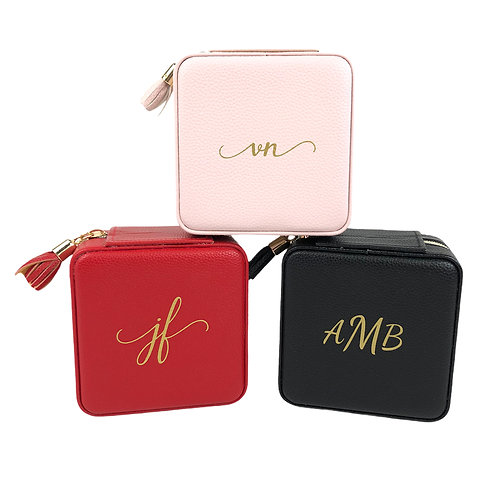 Leah Travel Jewelry Case - Red