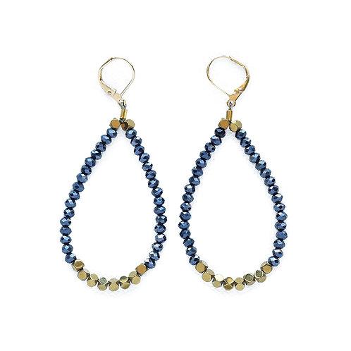 Metallic Blue Crystal and Hematite Loop Earrings