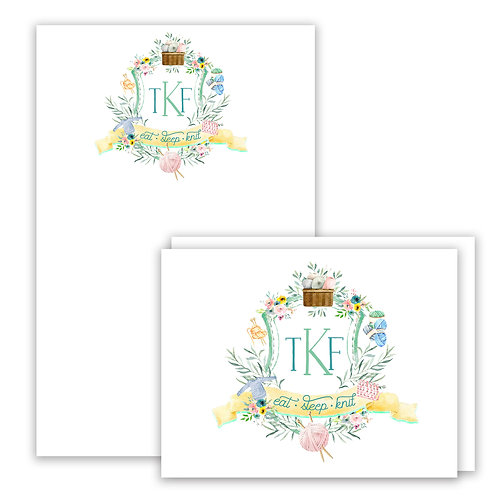 Knitting Themed Watercolor Crest Stationery Gift Set