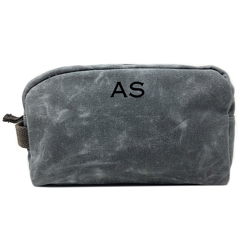 Striped Canvas Toiletry Bag-Grey