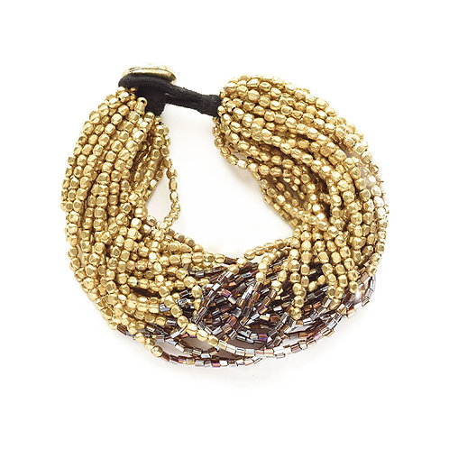 Gold with Brown Multi Strand Bracelet