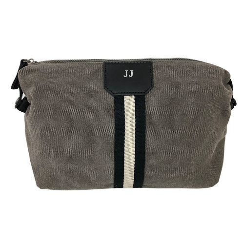 Personalized Striped Canvas Toiletry Bag