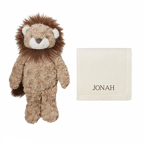 Lion plush toy with personalized blanket