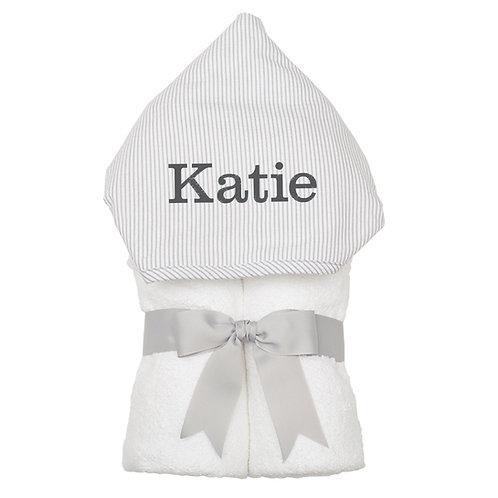 Big Kid Hooded Towel- Gray Stripe