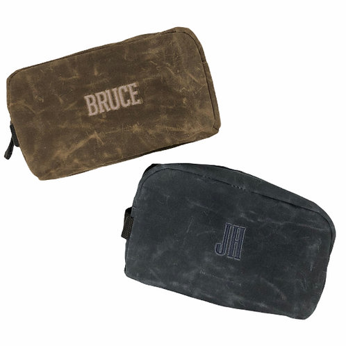 Personalized Men's Waxed Canvas toiletry bag