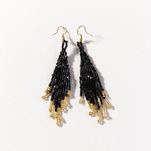 Black and Gold Small Fringe Earrings