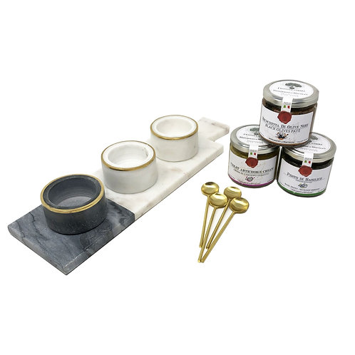 Two Tone Marble Condiment with Trio of French tapenades