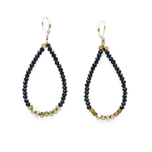 Black Crystal and Hematite Loop Earrings