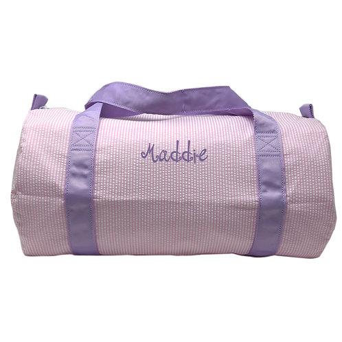 Personalized Oh Mint Medium Duffle Bag-Pink Seersucker