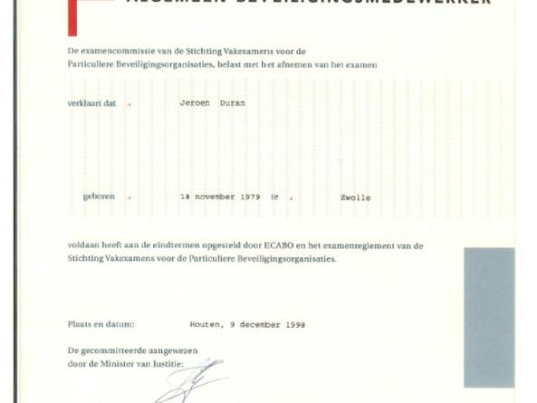 Diploma Algemeen Beveiligingsmedewerker.