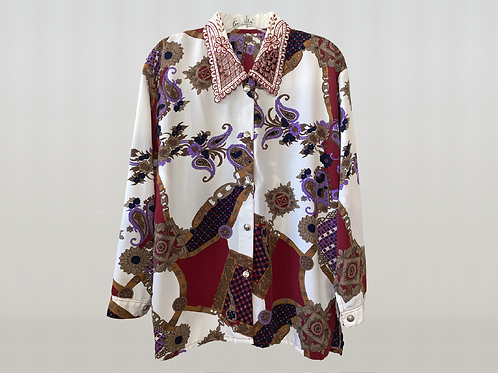 GIVENCHY 1980's Lace Collar Paisley Blouse